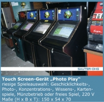 Touch-Screen, Photoplay, Silverball, Foto, Touch-Master, Trendy, Merkur, Shanghai, Erotik, Quiz, Dimond, Trivial Persuit, Solitaire,
